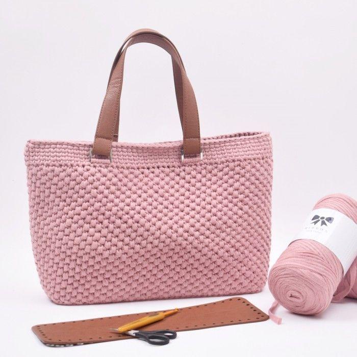 Shopper med læderbund Small fra Hobbii | Crochet tote bag