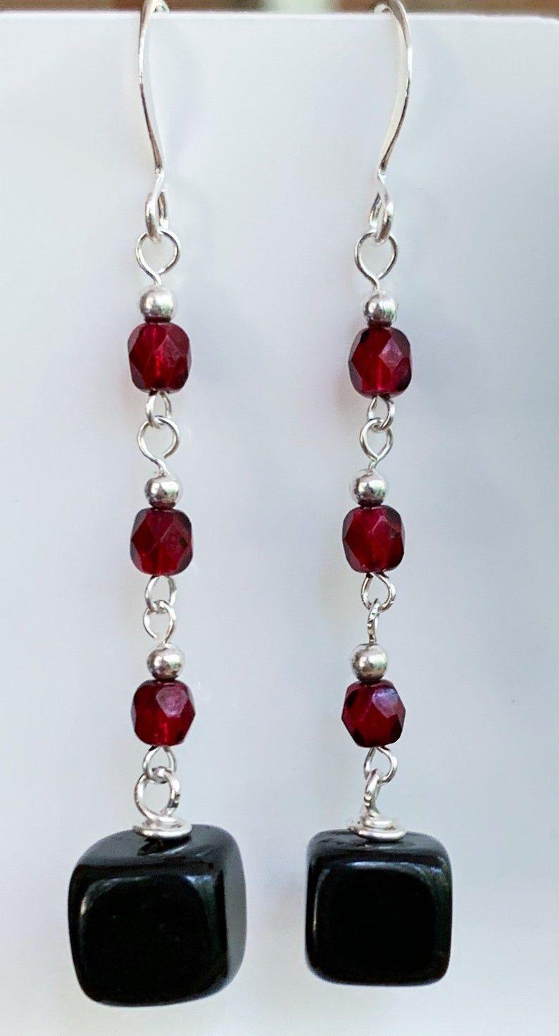 Dangle drop lightweight earrings Unique boho statement earrings. Aesthetic silver earrings Black onyx gemstone bead earrings