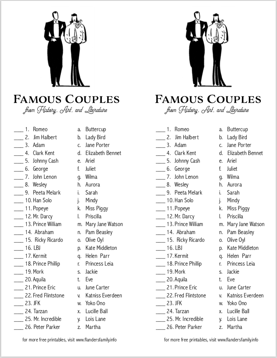 Can You Match These Famous Couples Free Printable Showergames Freeprintable Wedding Famous Couples Couples Quiz Couple Games