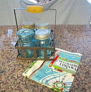 Ball mason jars with metal holder for sale at More Than McCoy at http://www.morethanmccoy.com
