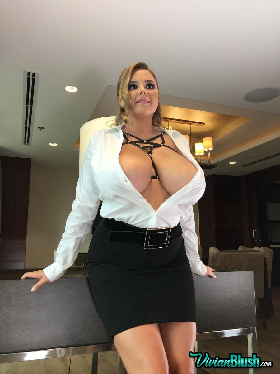 Vivian Blush Awesome Blonde Model With Huge Giant Melons