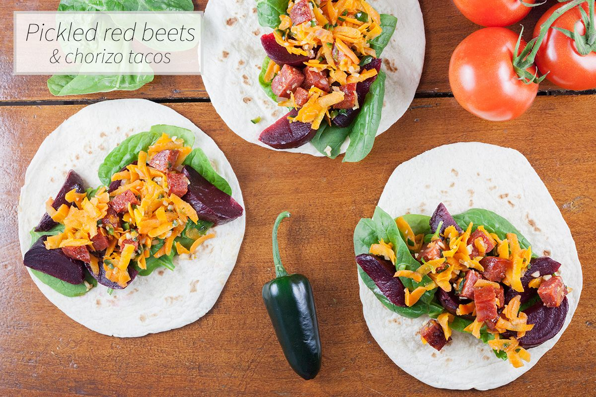 Tacos are a perfect weekday meal to enjoy with friends and family. The combination of pickled red beets and chorizo tacos is even more perfect!