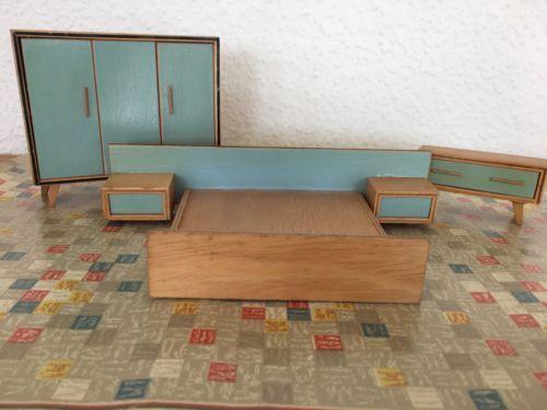 Alte Puppenmoebel Puppenstube Puppenhaus Schlafzimmer 50er 60er Jahre