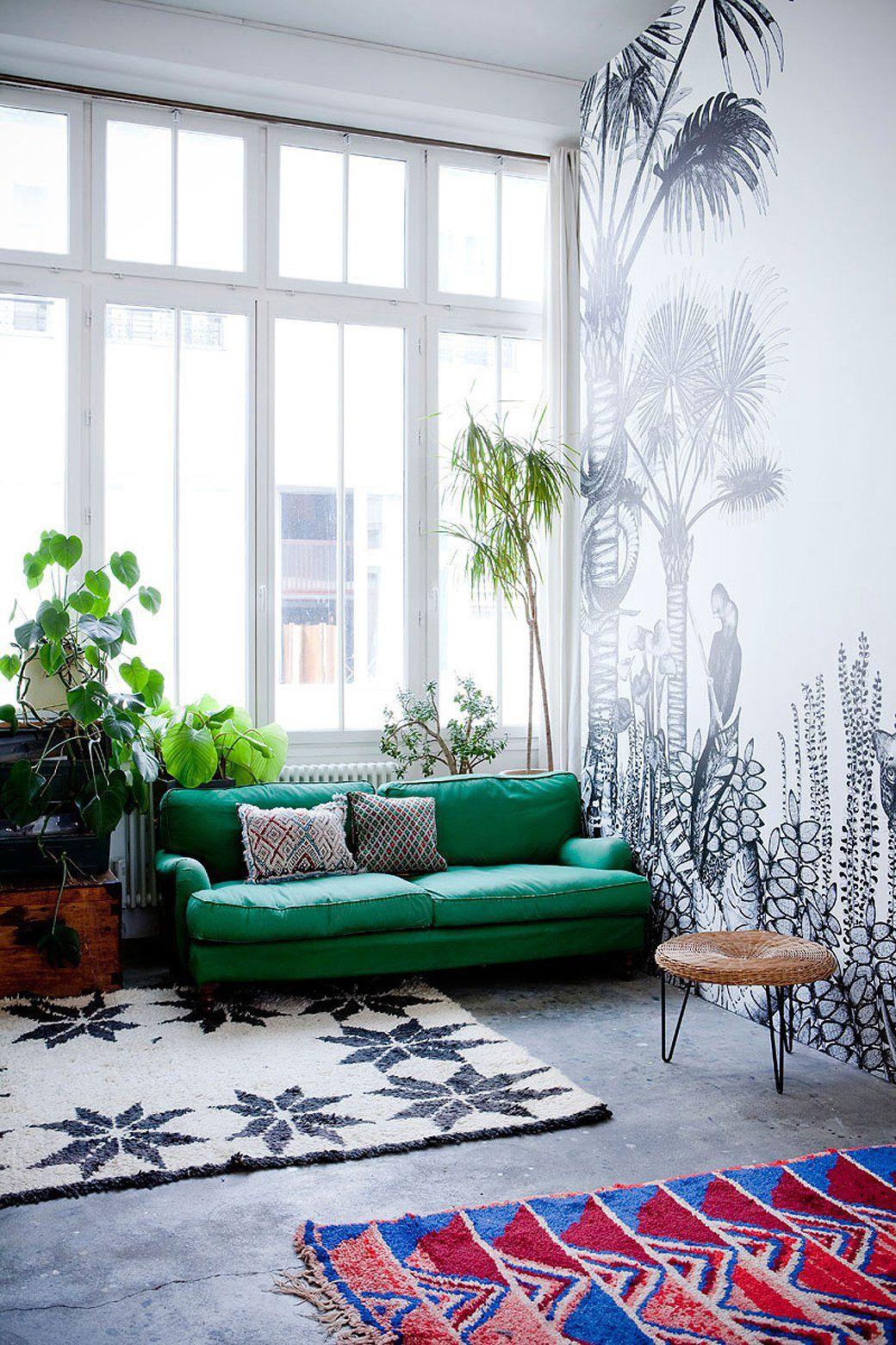 Wallpaper By Bien Fait + Parisian Home Of Cécile Figuette | Bohemian ...