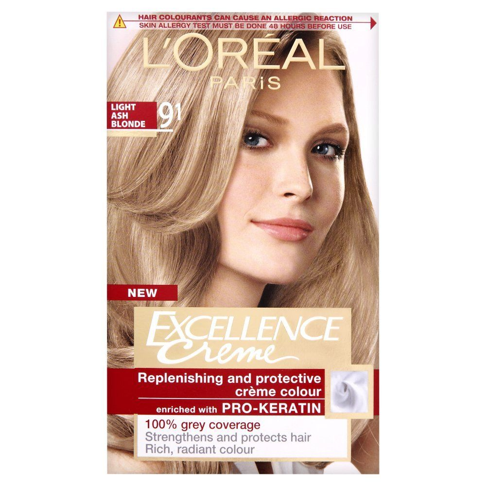 L Oreal Excellence Permanent Hair Colour 9 1 Light Ash Blonde Natural Hair Color Hair Dye Color Chart Blonde Hair Color Chart