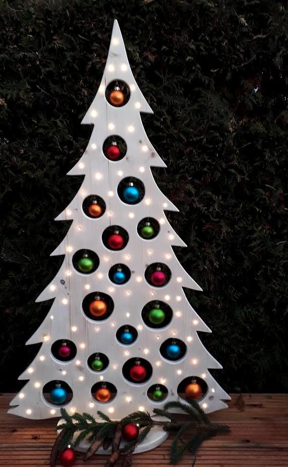 Weihnachtsdeko Baum Holz.Weihnachtsbaum 1 25 M Holzdeko 80er Led Holz Baum Weihnachtsdeko