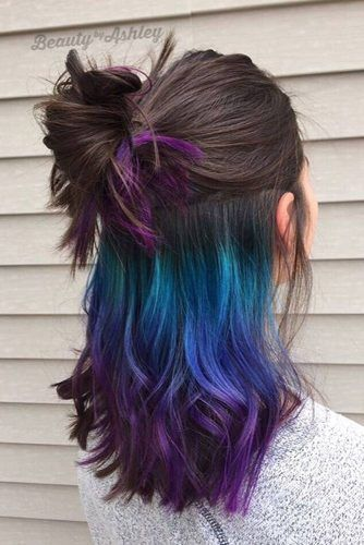 55 Fabulous Rainbow Hair Color Ideas Underlights Hair Hidden