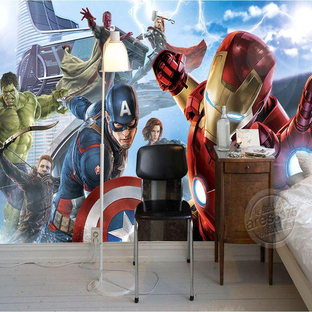 25e6456120d Avengers Boys Bedroom Photo Wallpaper Custom 3D Wall Murals Marvel Comics  wallpaper Children's room Interior Design Room decor