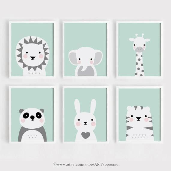 Mint Printable Nursery wall Art Set of 6 Poster Baby Boy