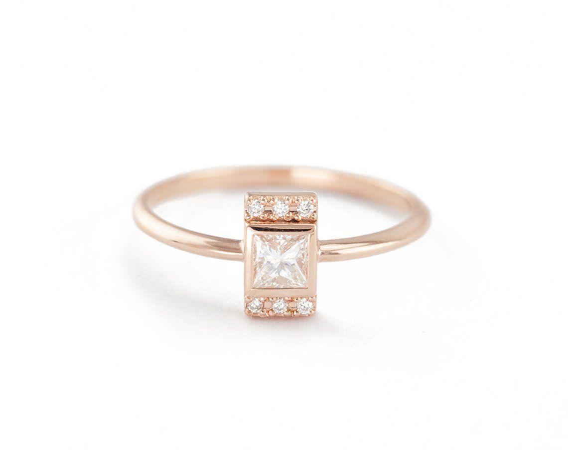 Prinzessin Diamant Verlobungsring Moderne Diamant Ring Mit Quadratischen Diamant 0 25 Ct Diamant Ring Ring Verlobung Verlobungsring Moderne Verlobungsringe
