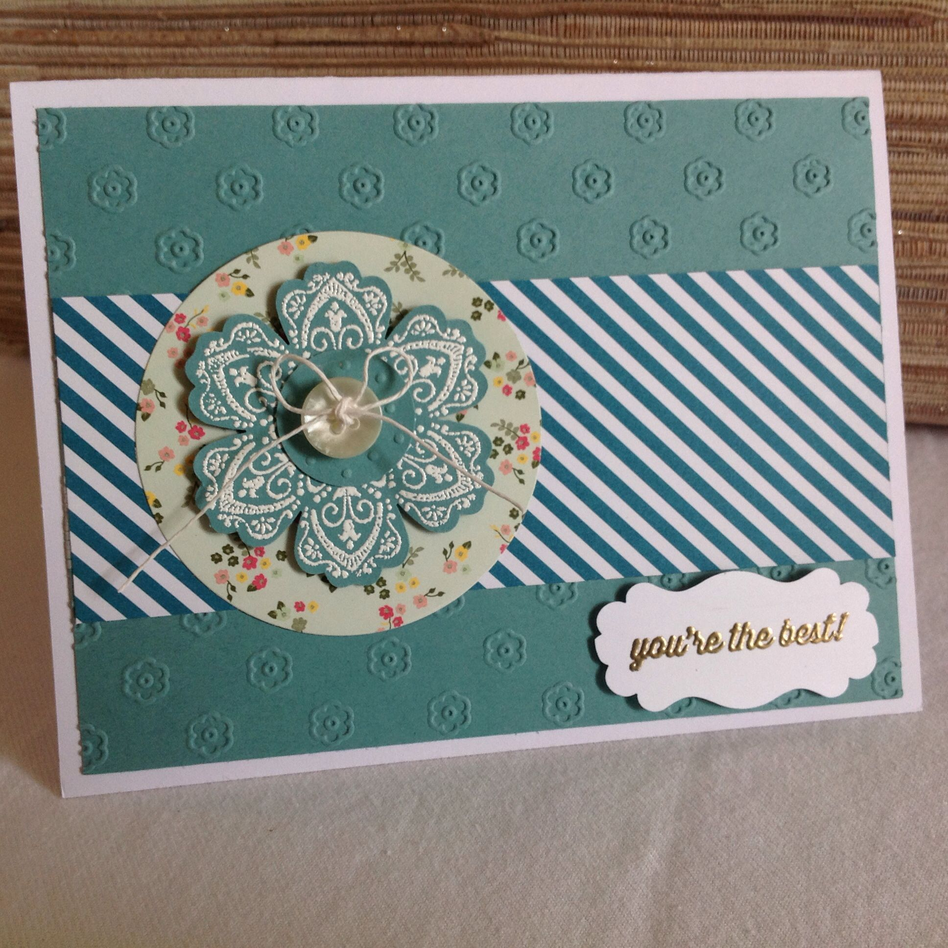 Stampin Up All Abloom + flower embossing folder+ Mixed Bunch stamp + white & gold heat embossing