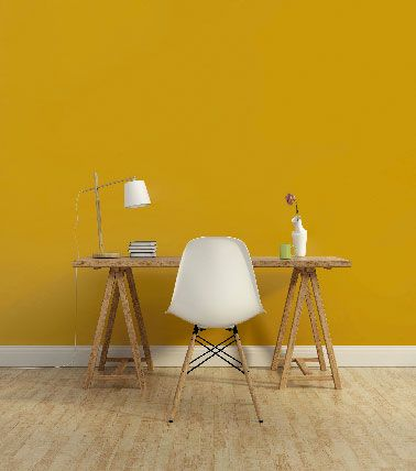 peinture 1825 couleur jaune moutarde dans un bureau en. Black Bedroom Furniture Sets. Home Design Ideas