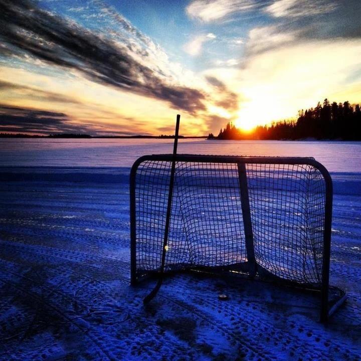 Hockey goal at sunrise