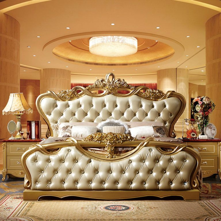 Dubai royal solid wood carving bed 079 Luxury home