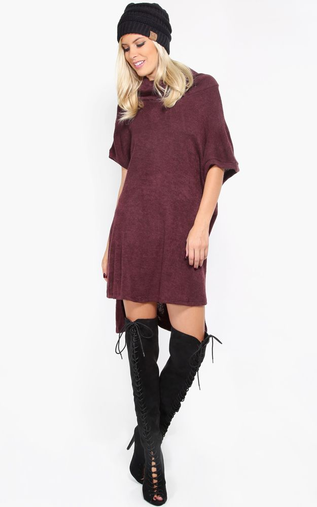 Cowl neck sweater dress with a hi lo hemline. This whole outfit looks great! And I love the color on the dress. | MakeMeChic.com