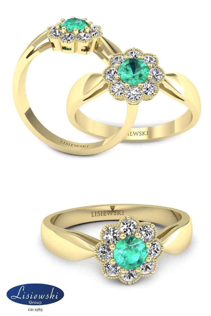 b24b5435275e6a Złoty pierścionek zaręczynowy ze szmaragdem i diamentami #zaręczyny # szmaragd #engagementring #emerald #diamonds #złotypierścionek