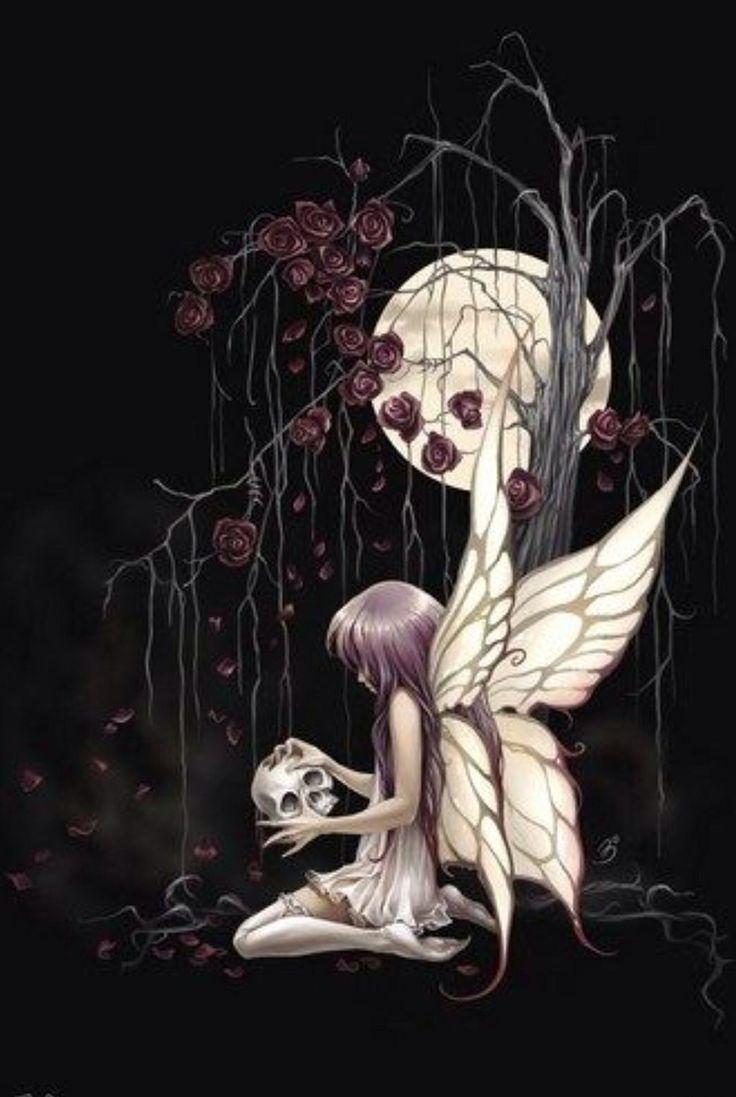 Gothic skull drawings skull fairy dark roses dark for Skull fairy tattoos