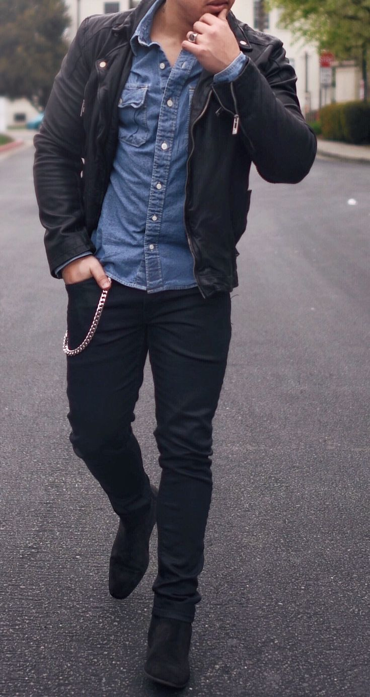 Leather Jacket, Denim Shirt and Chelsea Boot | Man style