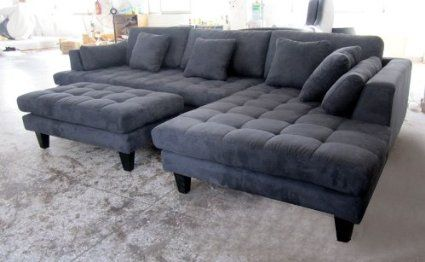 3pc New Modern Dark Grey Microfiber Sectional Sofa Chaise Ottoman Set S168rdg Stendmar