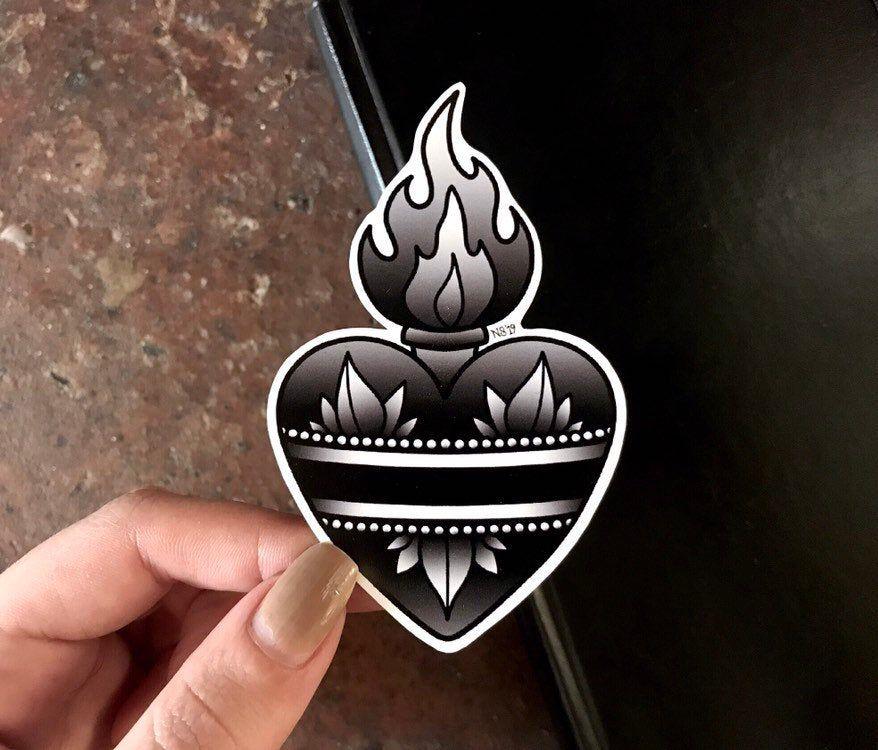 Photo of Vinyl Sticker, Sacred Heart Sticker, B&W Sacred Heart, Traditional Tattoo Sticker, Laptop Stickers, Flaming Heart Tattoo, Vinyl Decal