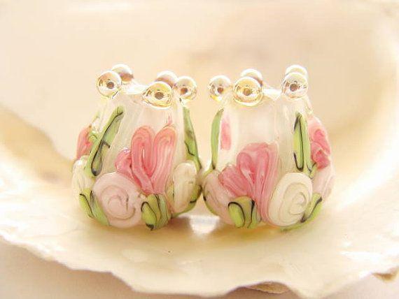 White Floral Tulips Handmade Lampwork Pair by IrinaS on Etsy