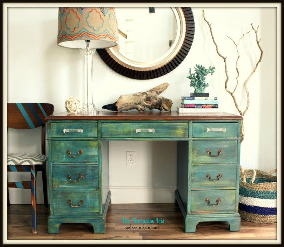 Antique Teal Desk / Vanity With Re-Finished Mahogany Top