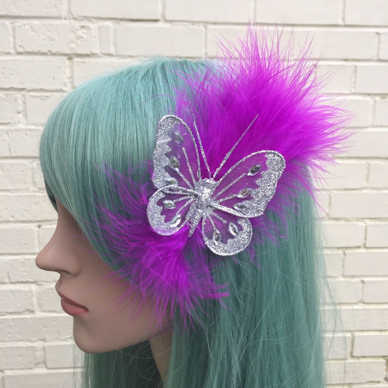 Butterfly hair accessories for weddings uk - Feather Hair Clips