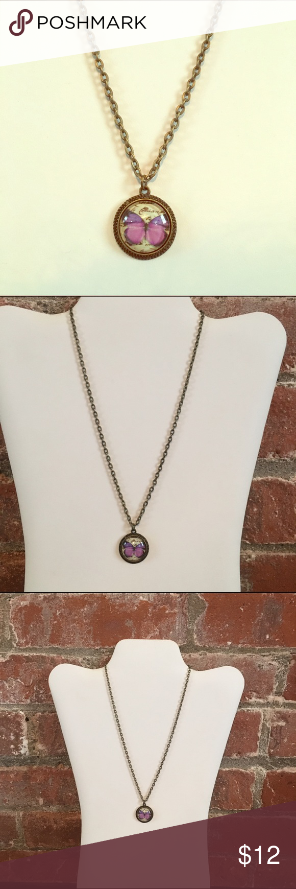 """Butterfly pendant necklace Antiqued bronze purple butterfly pendant necklace. Chain is 18"""" pendant is .8"""" Jewelry Necklaces"""