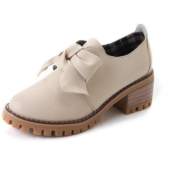 f8d21aa44a Bow Tie PU Chunky Platform Shoes ($4.99) ❤ liked on Polyvore featuring shoes,  chunky shoes, chunky platform shoes, pu shoes, polyurethane shoes and ...
