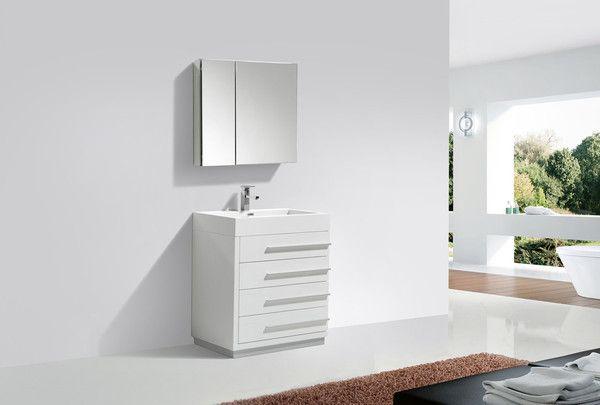Tona 30 Inch High Gloss White Modern Bathroom Vanity - The ...