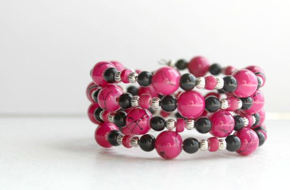 Hot Pink, Black, and Silver Memory Wire Wrap Bracelet - Handmade Beaded Jewelry - One Size Fits All - Ready to Ship on Etsy, $19.00