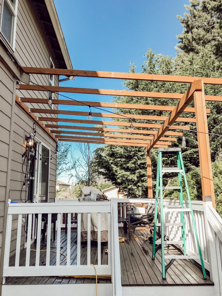 Diy Clear Corrugated Covered Pergola Attached To The House And An Existing Deck Rain And Pine In 2020 Covered Pergola Deck With Pergola Pergola