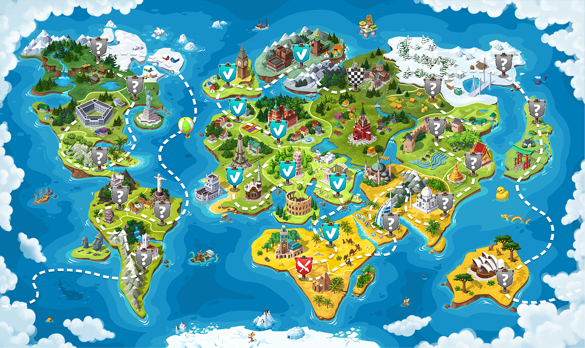 World map for the game on Behance | KIDS MAP | World map