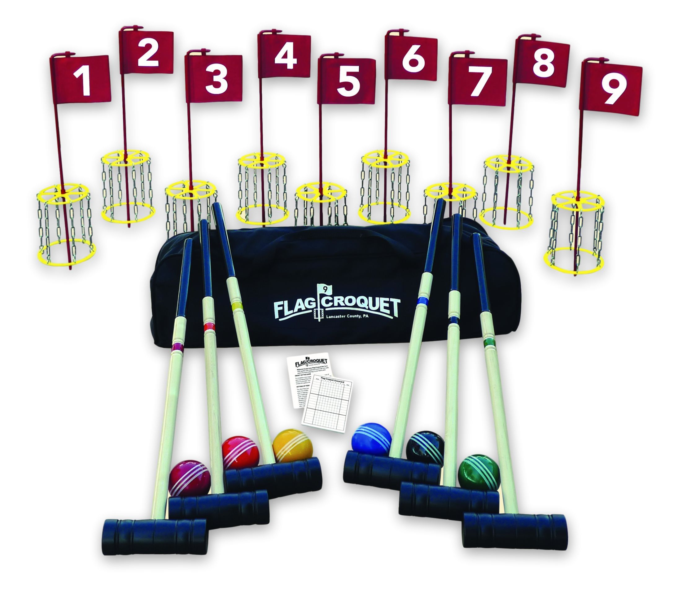 NEW! AmishMade Deluxe Flag Croquet Golf Game Set Cheap