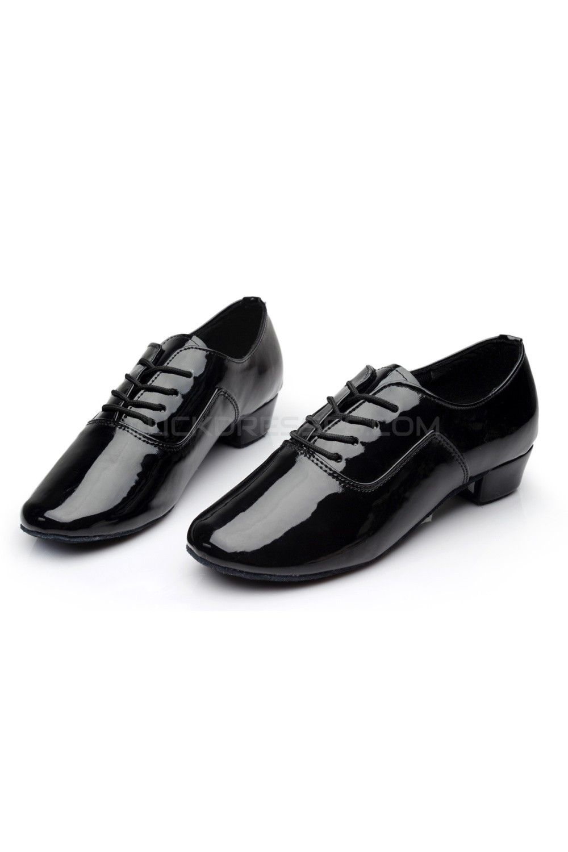 d15a9b0ea2 Men's Kids' Black Leatherette Modern Ballroom Latin Dance Shoes ...
