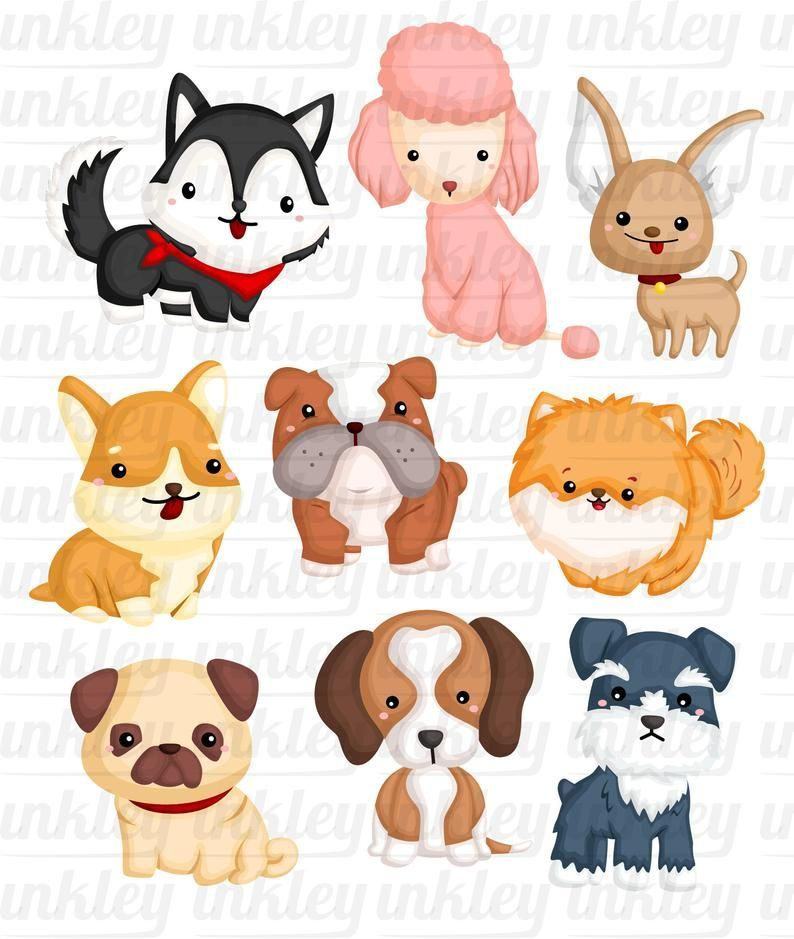 Dog Breeds Clipart Cute Dogs Clip Art Home Pet Free Svg On Request In 2020 Cute Animal Clipart Cute Dogs Dog Clip Art