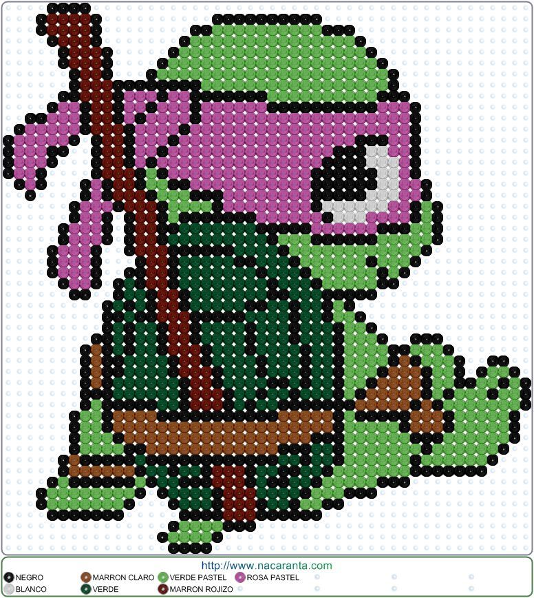 Donatello TMNT Perler Bead Pattern | Hama | Pinterest | Punto de ...