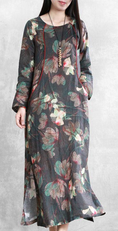 Beautiful floral linen dresses o neck pockets Maxi Dresses
