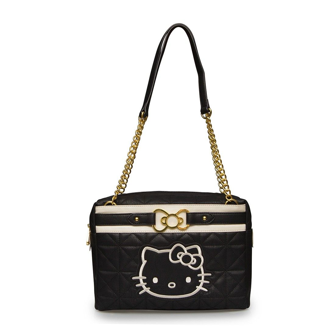 1af5fa098478 Hello Kitty Black Cream Quilted Bag With Gold Metal Bow - Hello Kitty -  Brands