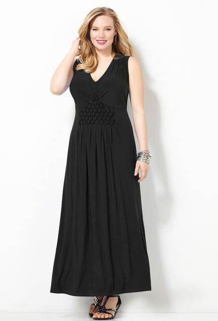 Smock Detailed Maxi Dress-Plus Size Maxi Dress-Avenue ...
