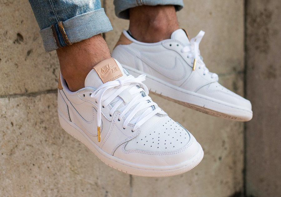 Nike Wmns Air Jordan 1 Retro Low NS Blanc-Beige - Chaussures Baskets basses Femme
