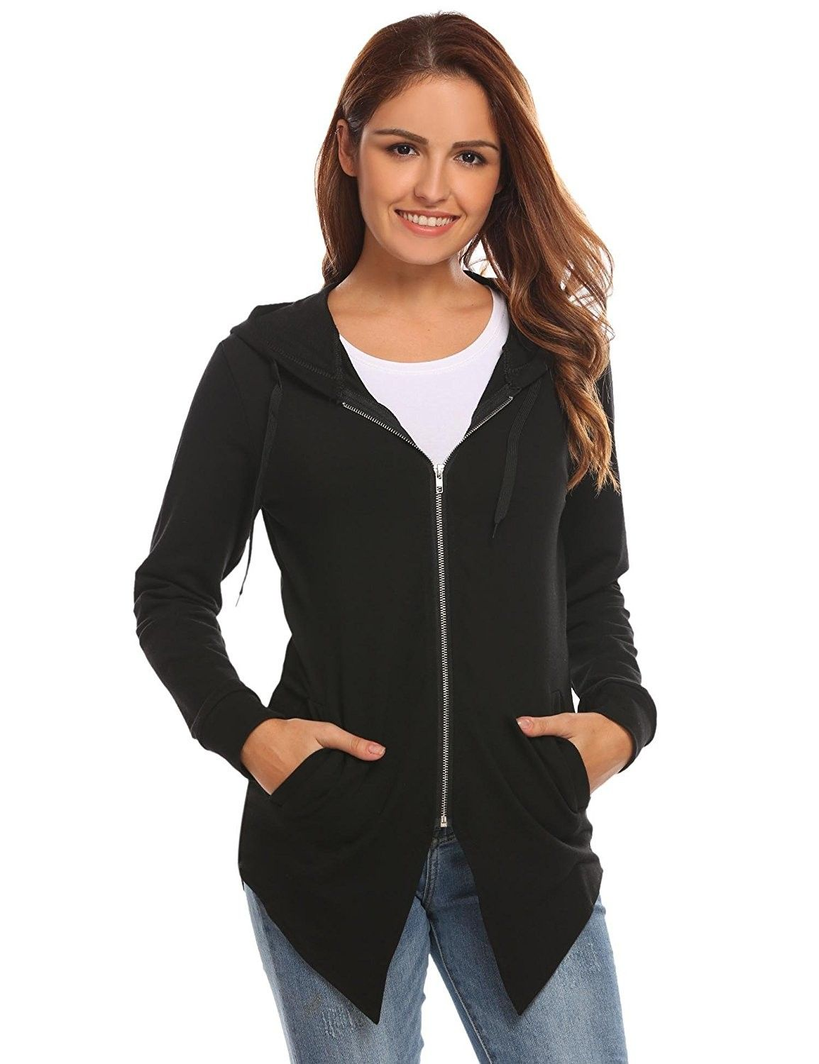 67a8c8dc6571 Women Active Hooded Zip Up Jacket Casual Loose Fit Hoodie with ...