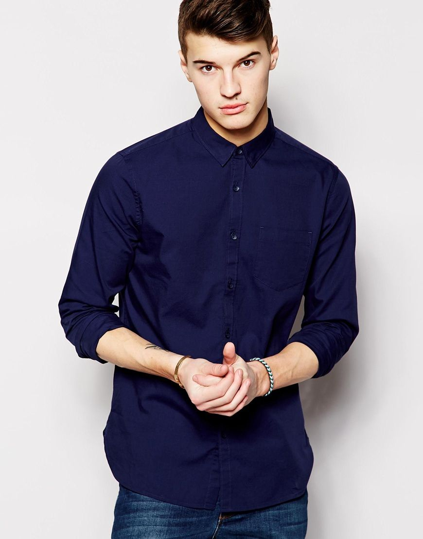 Shop New Look Oxford Shirt In Regular Fit In Navy at ASOS.