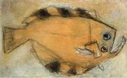 生誕100年 松田正平展 陽だまりの色とかたち : MATSUDA Shohei - A Centennial Retrospective :神奈川県立近代美術館<鎌倉館> 《オヒョウ(大きな魚)》 1984年 油彩、カンヴァス 山口県立美術館蔵