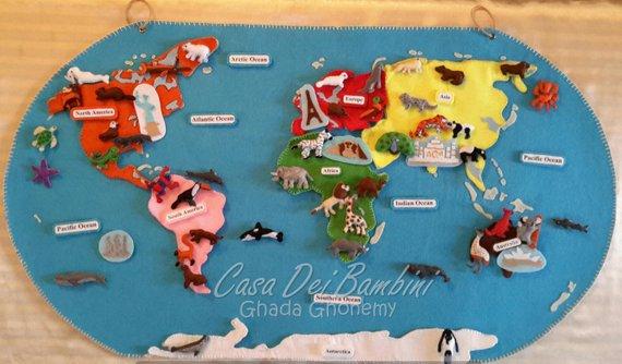 Karte Kontinente Welt.Montessori Kontinente Der Welt Filz Karte Geographie