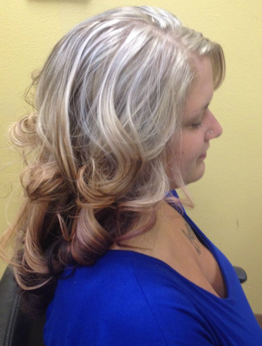 From Dark Brown To Platinum Blonde With A Shadow Box Long Layered