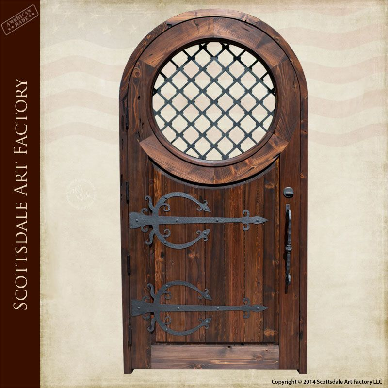 Superb Wood Entrance Doors Custom Built To Order   Full Arch Solid Wood Door With  Round Window, Iron Grill And Medieval Hardware Designs For A Stunning  Castle ...