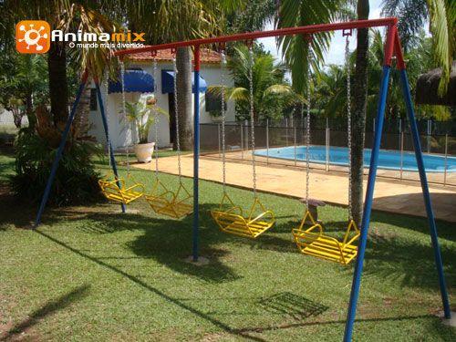 7117607afda Balanço de ferro 4 lugares com cadeira de ferro | Playground ...