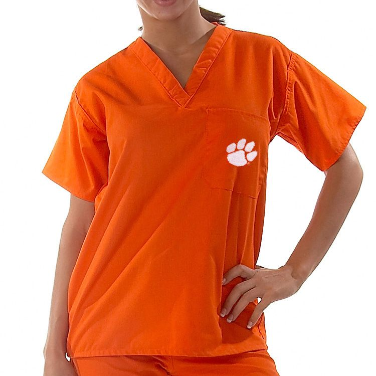 Nurse scrubs · Go Tigers! This orange #Clemson University embroidered logo  scrub top is perfect for showing