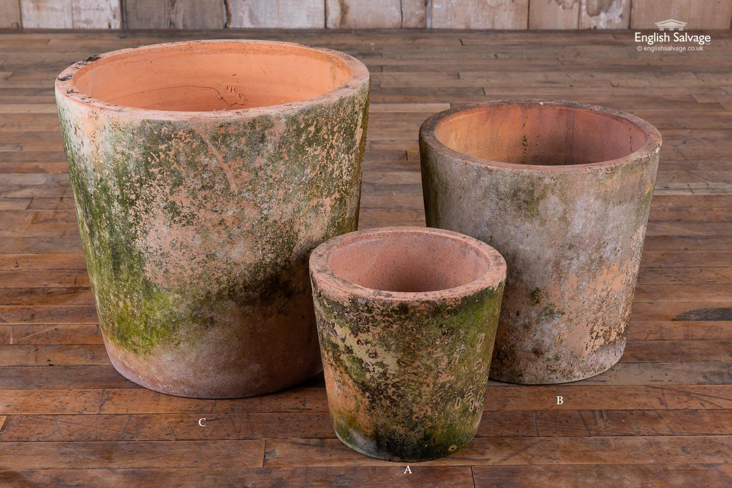 Large Aged Terracotta Pots With Moss Patina Terracotta Pots Terracotta Garden Pots